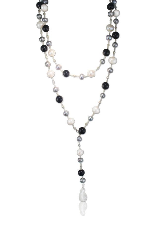 Bead and Pearl Lariott Necklace