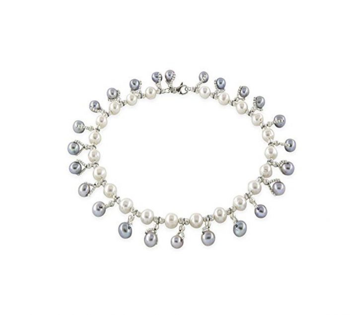 Kaufmann De Suisse Freshwater White Pearl Necklace with Grey Pearl Dangles