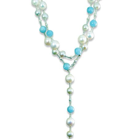 Turquoise and Freshwater Cultured Pearl Lariat Necklace