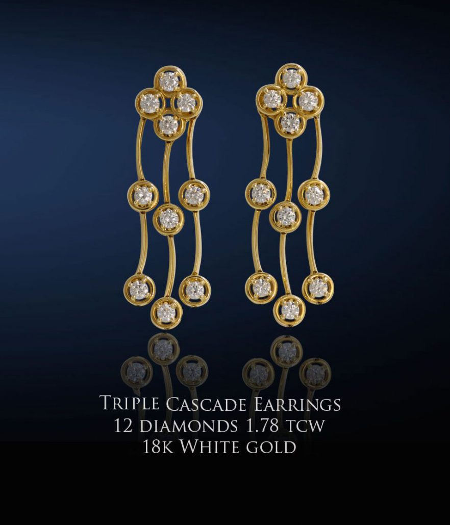 Triple Cascade Diamond Earrings in Yellow Gold