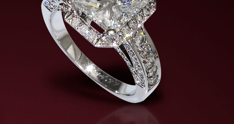 Four CTS Radiant Cut Diamond Engagement Ring