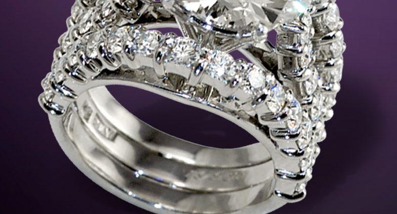 Magnificent Super Nova Diamond Engagement and Wedding Ring