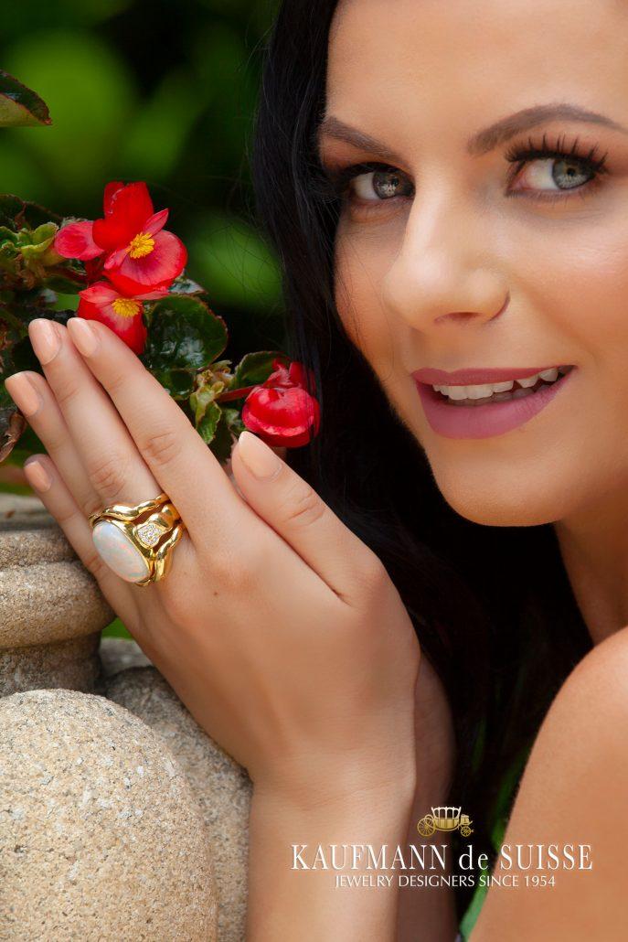 18K Opal and Diamond Ring