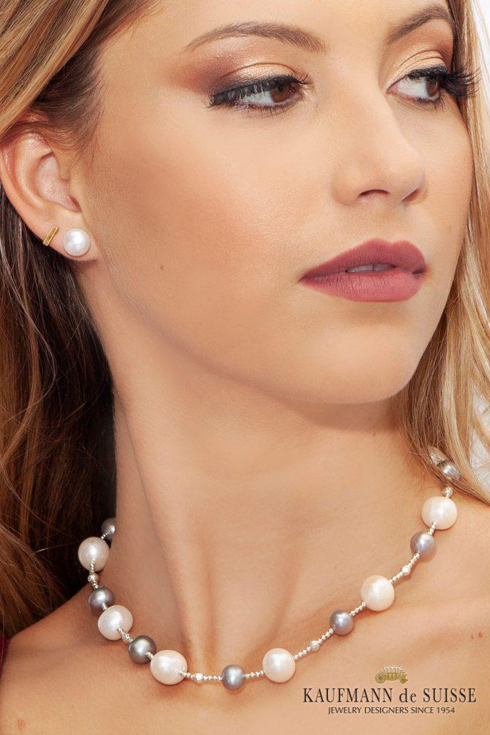 Elegant White & Gray Freshwater Pearl Necklace