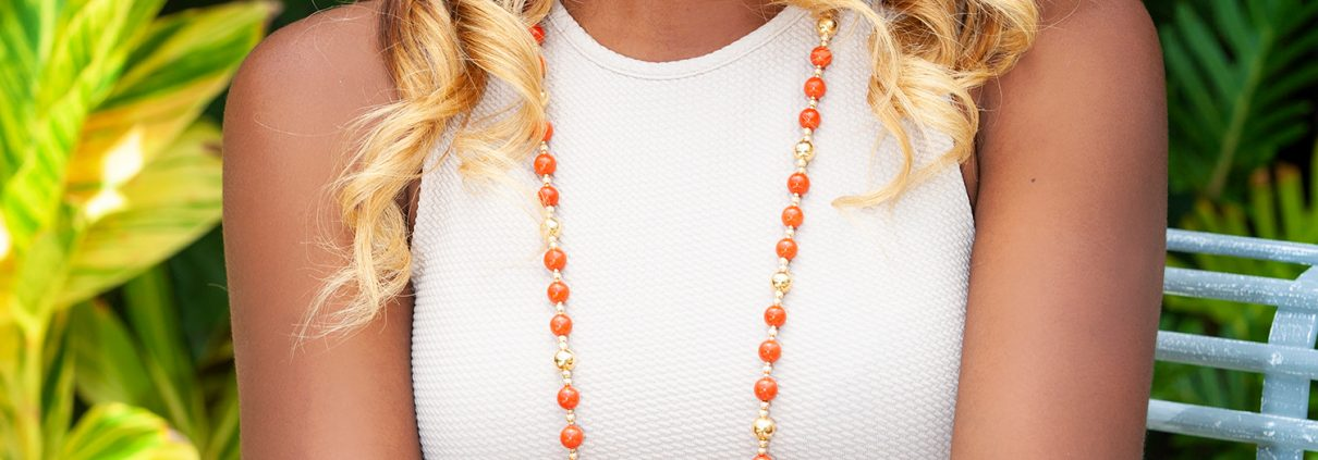 Coral and Gold Necklace, Earrings and Bracelet