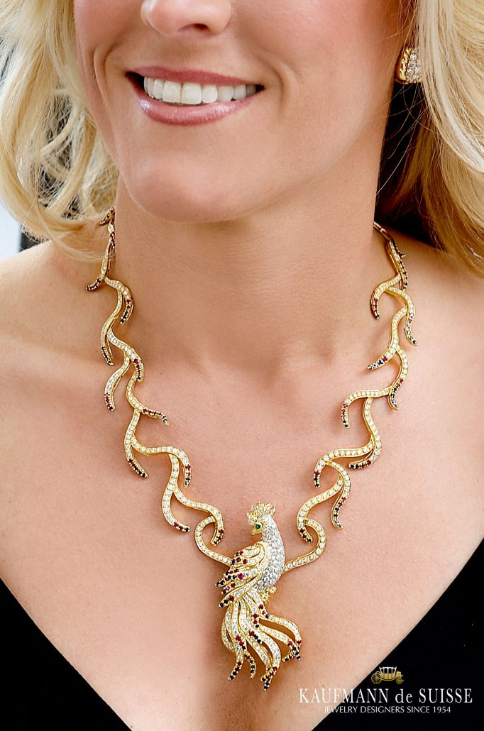 The Phoenix Necklace with detachable Broach