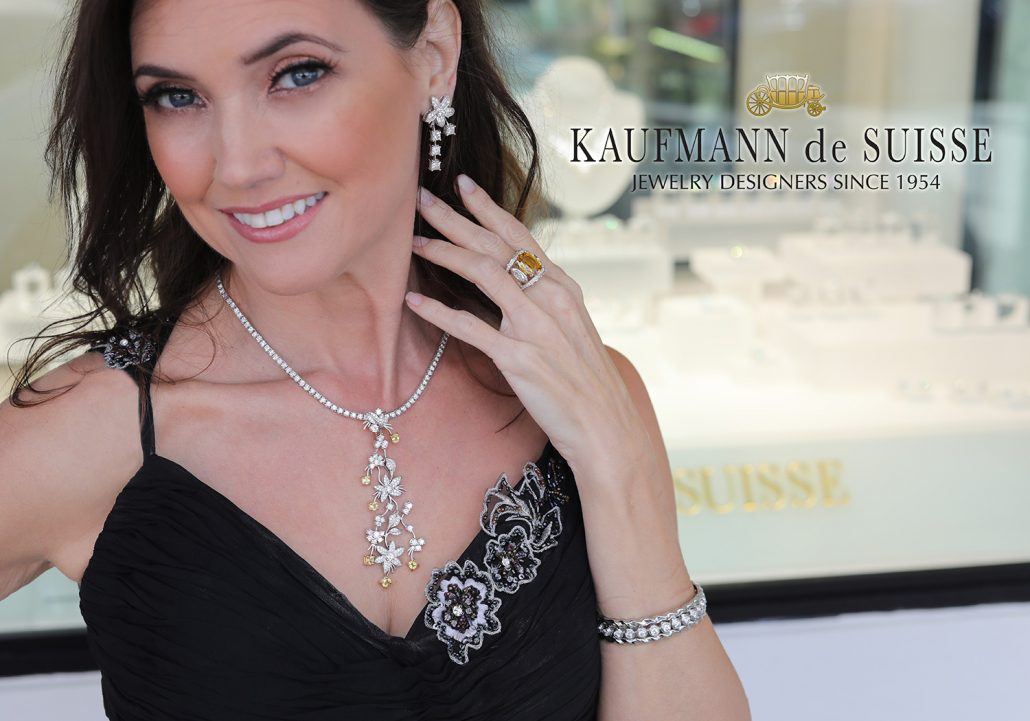 Diamond Earrings and Necklace from the Jasmine Collection
