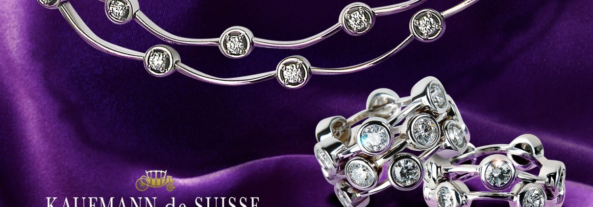 Diamond Necklace and Rings from the Cascade Collection