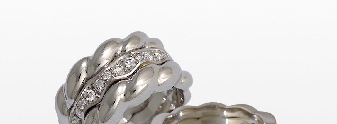 Flowing Lines Wedding Rings