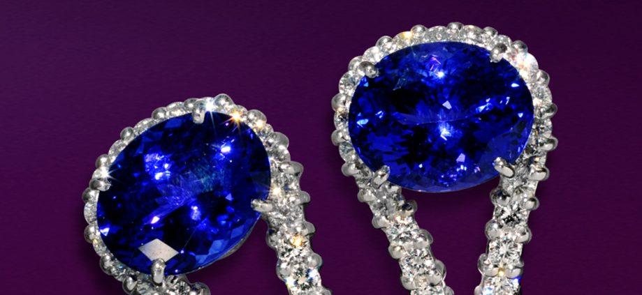 18K White Diamond and Sapphire Earrings