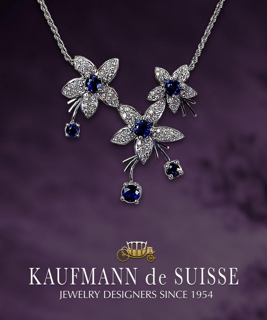 Jasmine de Nuit Triple Flower Sapphire Pendant