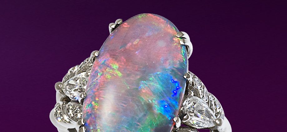 Flowing Lines Opal Ring in 18K White Gold