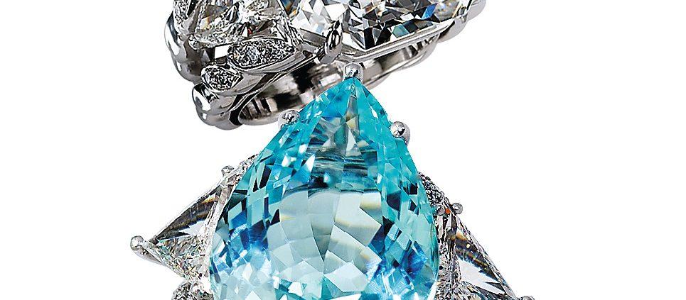 18K Diamond and Blue Topaz Rings