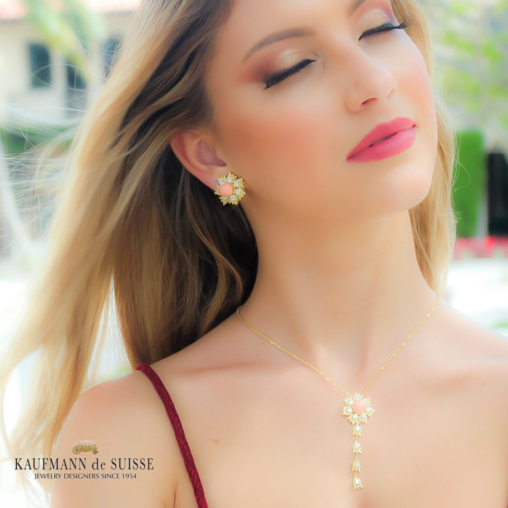 18K Diamond and Angel Skin Coral Necklace and Earrings