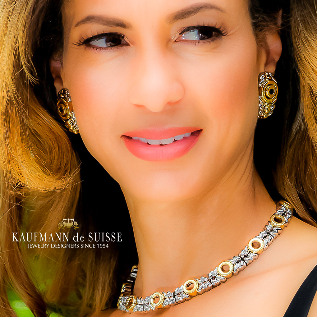 Stainless Steel and 18K Gold Earrings and Necklace