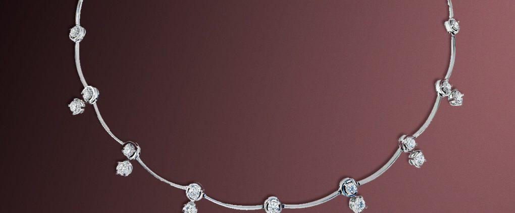 18K White Gold Cascade Diamond Necklace