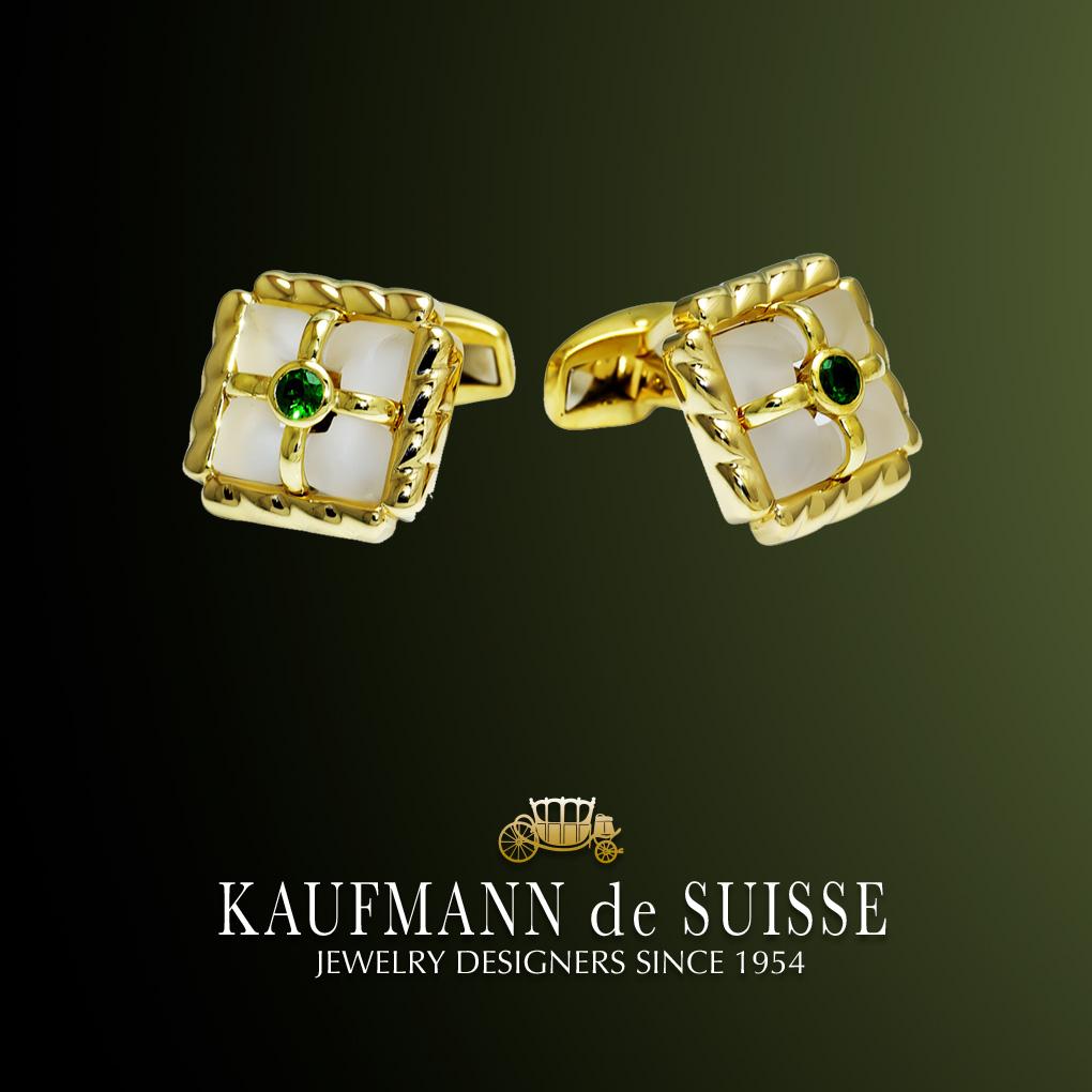 18K Gold & Emerald Cufflinks