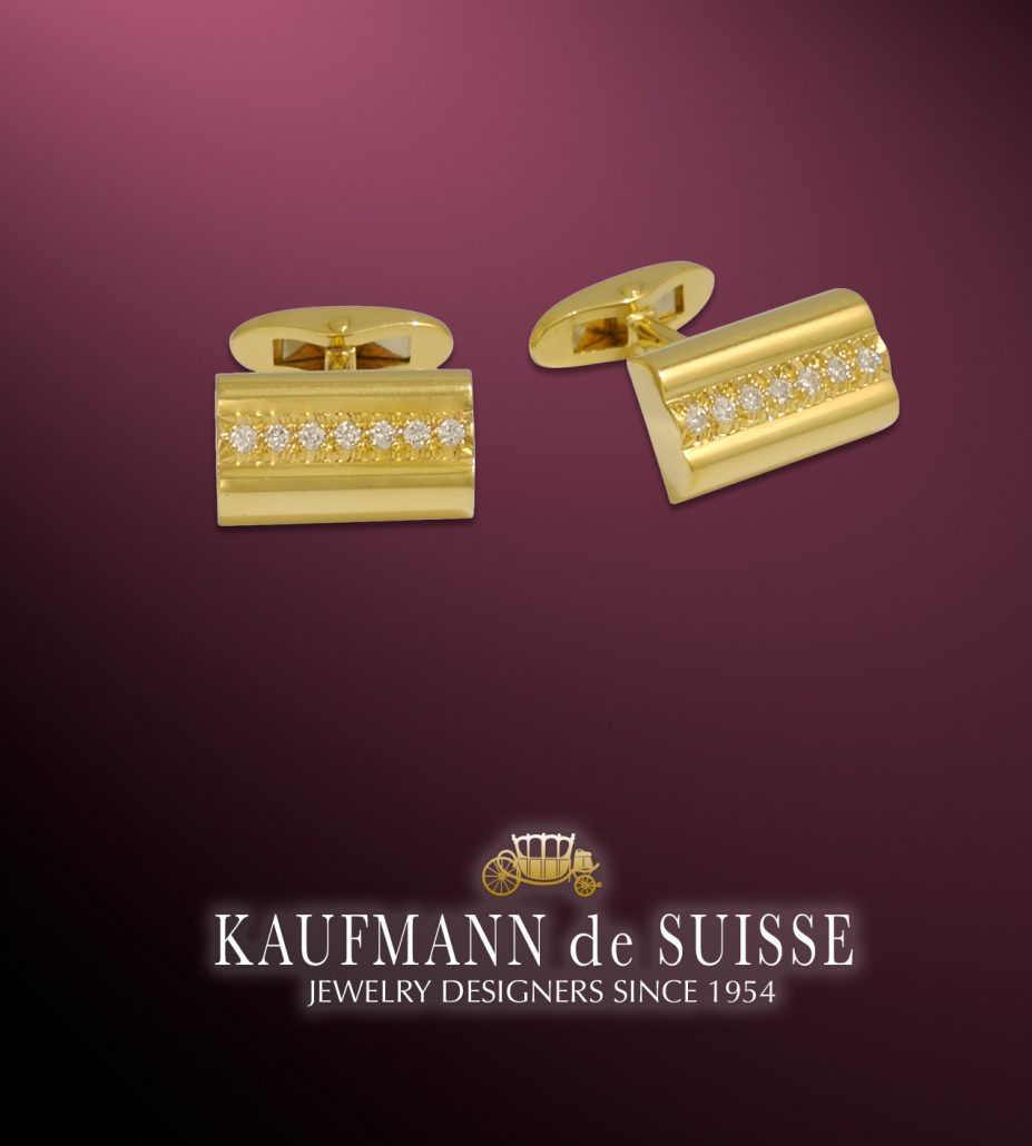 18K Gold and Diamond Cufflinks