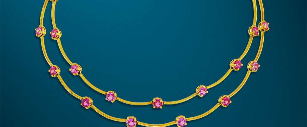 Cascade Double Row Pink Sapphire Necklace