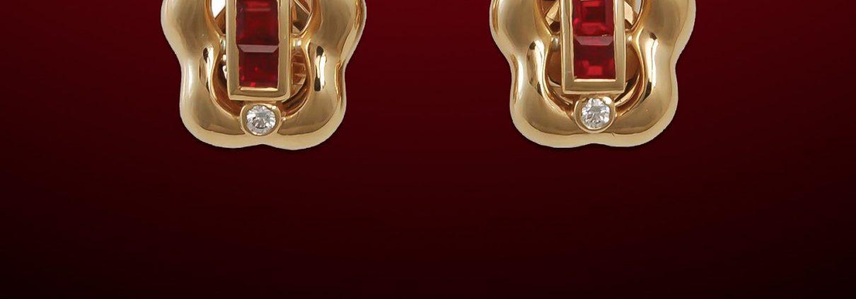Flowing Lines 18K Ruby & Diamond Earrings