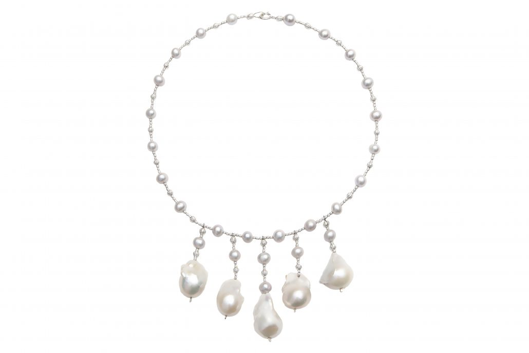 Grey Freshwater Pearl Necklace with 5 Short Baroque Pearl Drops Beautifully Accented with Diamond Cut Sterling Silver Beads Includes a Certificate of Guarantee