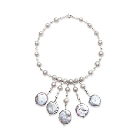 Freshwater Grey Pearls with Coin Pearl Drops
