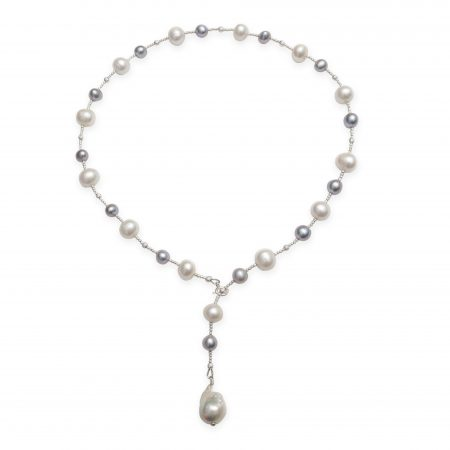 Freshwater White & Grey Pearl Lariat (Short Version)