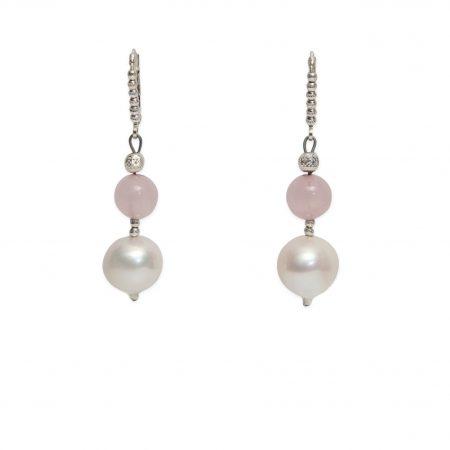 Freshwater White Pearl and Rose Quartz Dangle Earrings