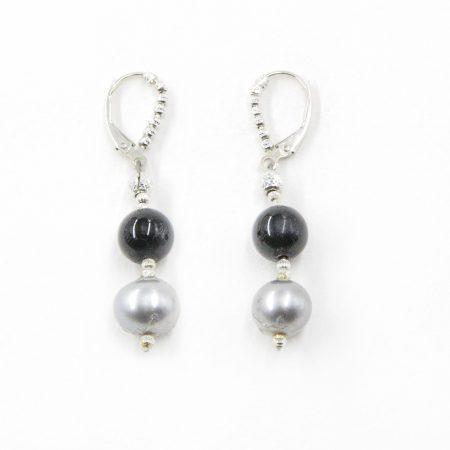 Freshwater Grey Pearl and Onyx Bead Dangle Earrings