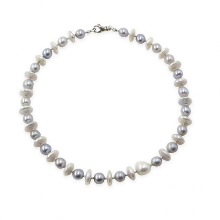White Coin Pearl and Grey Pearl Necklace with Silver Diamond Cut Bead
