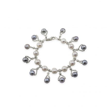 White Freshwater Pearl Bracelet with Black Dyed Grey Pearl Drops
