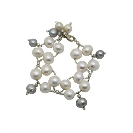 Freshwater White Pearl Bracelet with Grey Drops