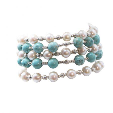 Freshwater White Pearl & Turqouise 5 Row Bracelet