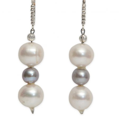 3 Drop Pearl Earrings in White, Grey and White