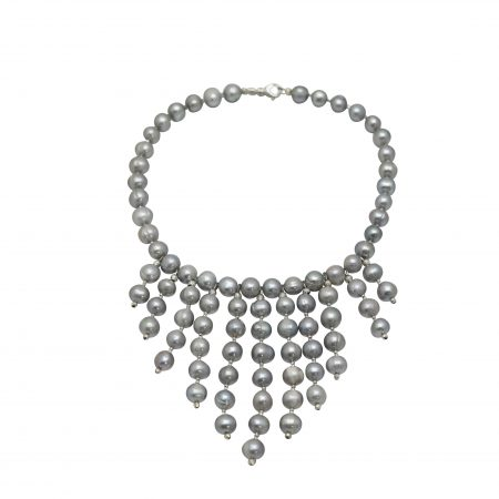 The Waterfall Grey Pearl Necklace