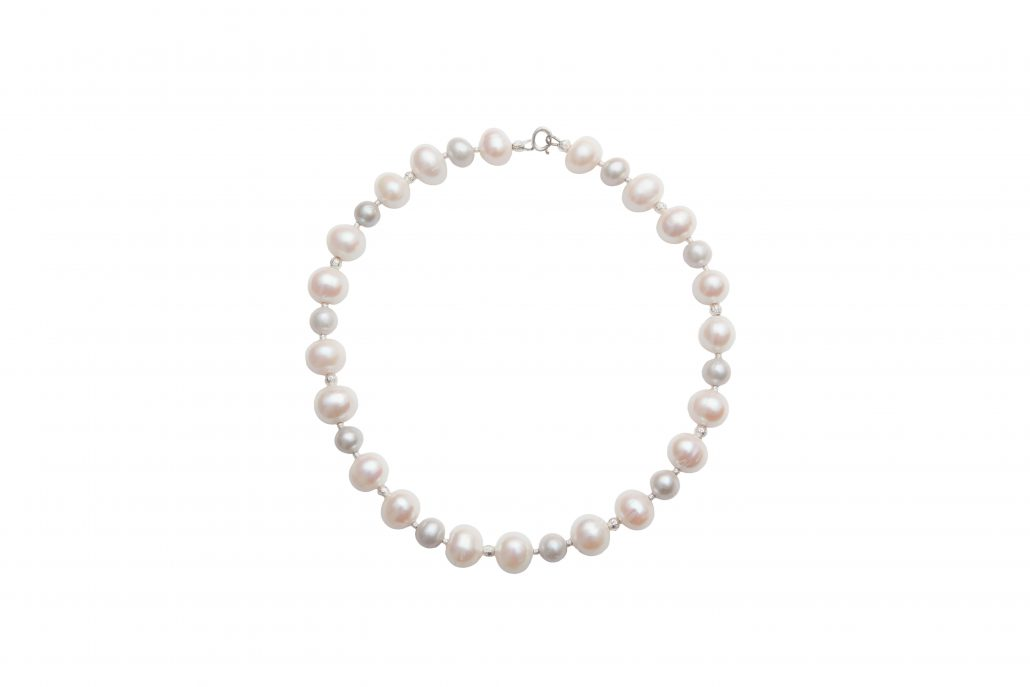 Classic Pearl Necklace with Grey & White Pearls