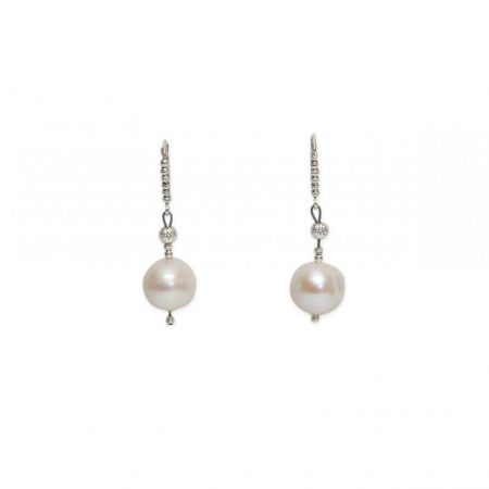 Freshwater Cultured Single Pearl Dangle Earrings with Silver Diamond Cut Beads