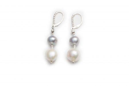 Dark Grey & White Pearl Drop Earrings