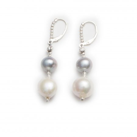 Dark Grey & White Pearl Drop Earrings