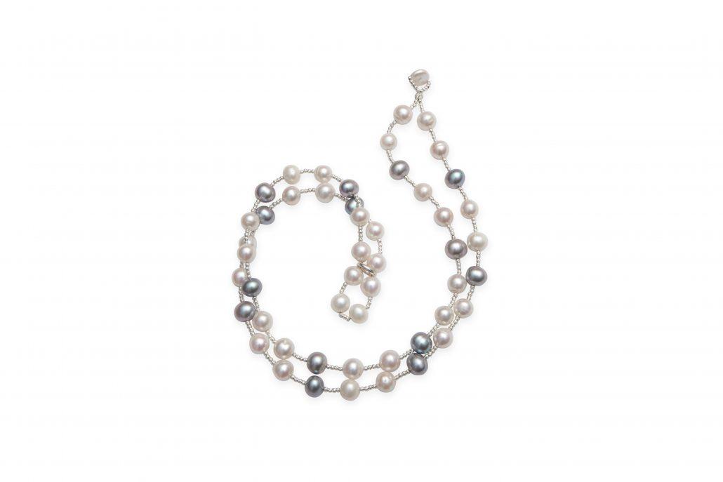 Dark Grey & White Off Round Freshwater Pearl Wrap Bracelet