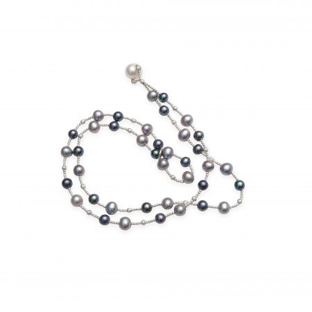 Grey & Black Dyed Pearl Wrap Bracelet With Single White Pearl Closure