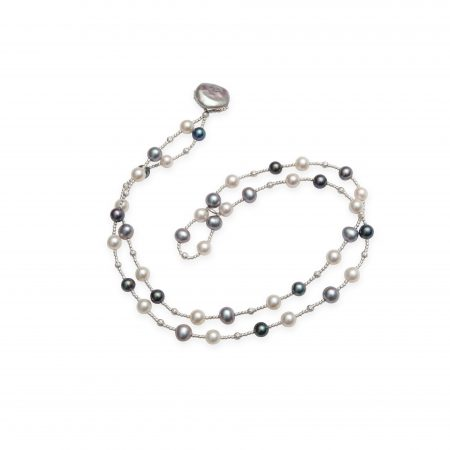Grey, White & Black Dyed Pearl Wrap Bracelet with Coin Pearl Closure