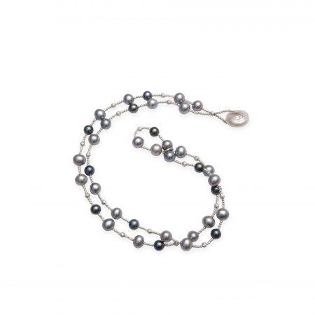 Grey & Black Dyed Pearl Wrap Bracelet