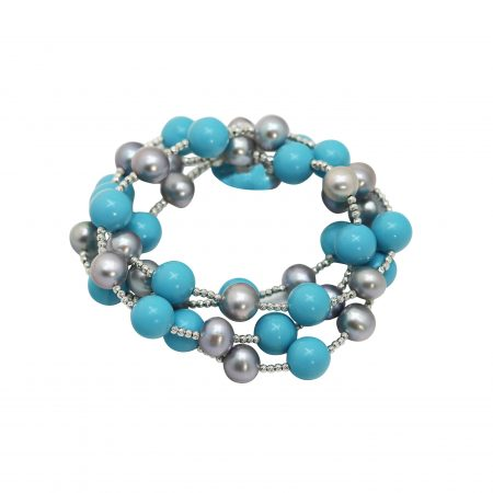 Grey and Black Pearl Wrap Bracelet with Turquoise