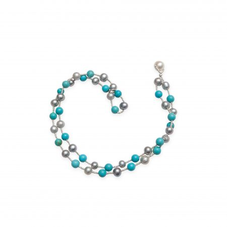 Grey, Black Dyed Pearls & Turquoise Wrap Bracelet