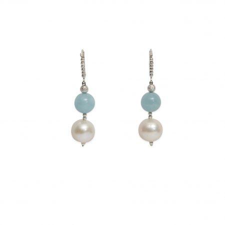 Freshwater Pearl & Aquamarine Earrings