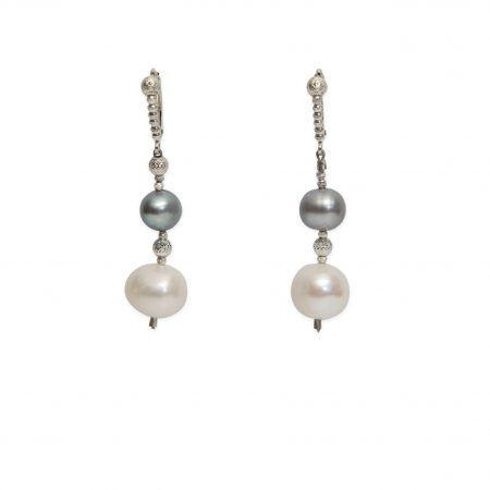 Oval Grey Pearl & White Freshwater Pearl Drop Earrings