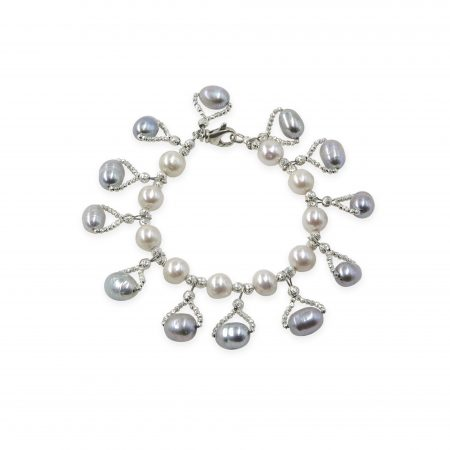 White Freshwater Pearl Bracelet with Light Grey Drops