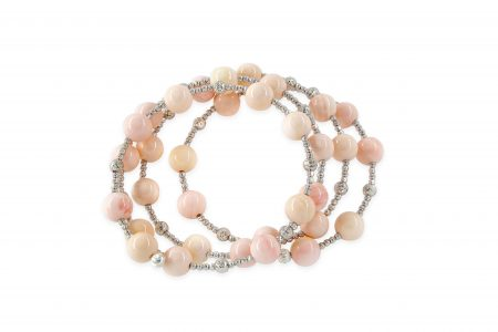 Coral Bead Spiral Bracelet with White Gold Beads