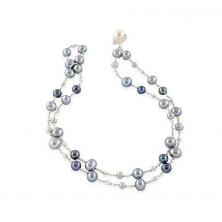 Freshwater Light and Dark Grey Pearl Wrap Bracelet